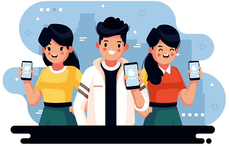 three teenagers, one boy and two girls with phones in their hand