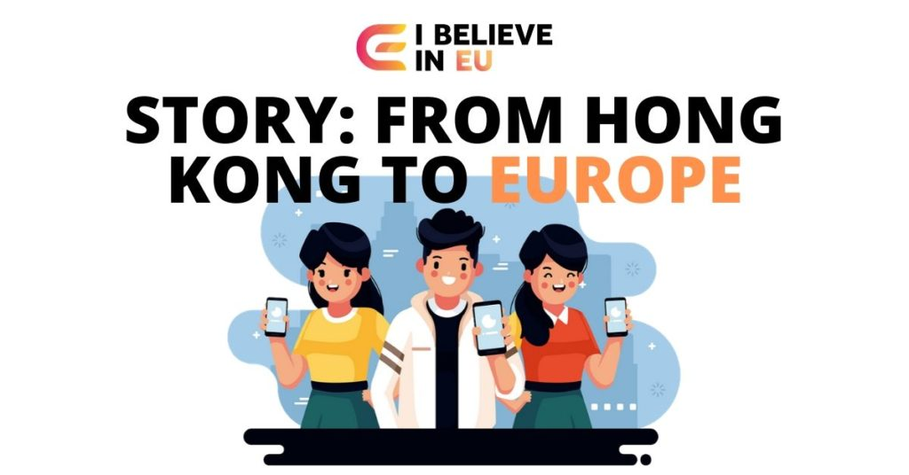three young people woth phones and on top it says stoy from hong kong to europe