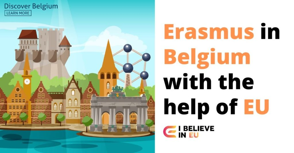 important buildings in belgium like the atom and brudges with the text eramsus in belgium with the help of eu