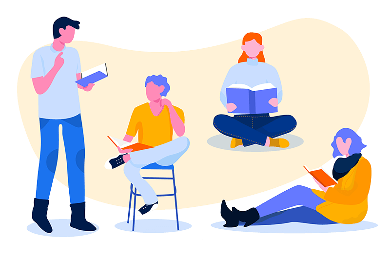 illustration of two men and two women reading