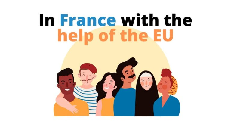 illustration of six people with french related design next to the text in France with the help of the EU
