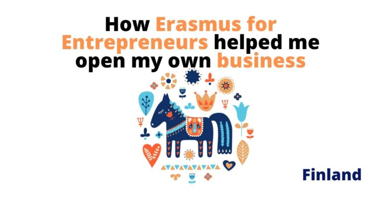 illustration of finnish design and the text how erasmus for entrepreneurs helped me open my own business