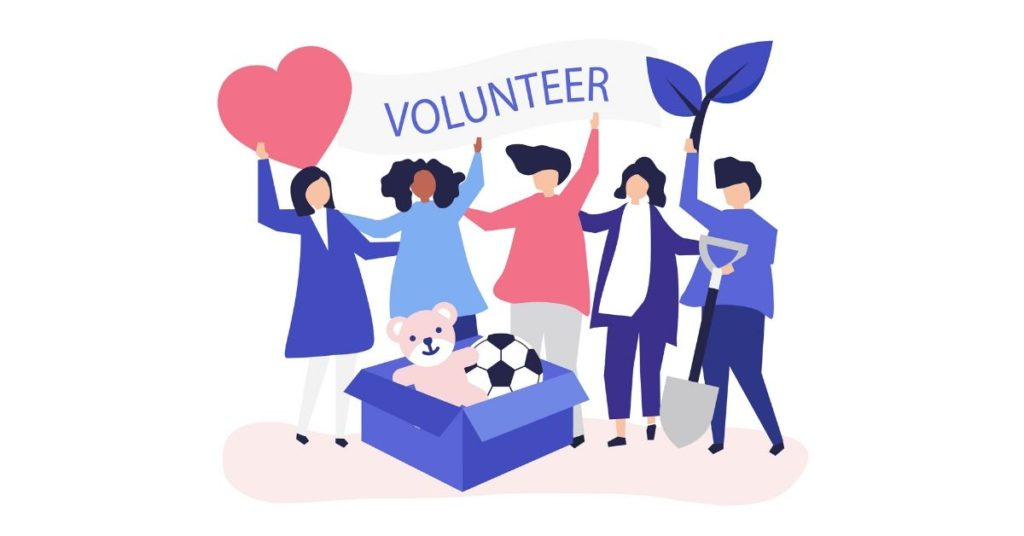 illustration of five teenagers holding a volunteer sign next to a heart