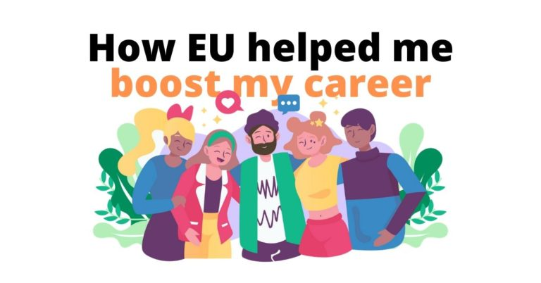 illustration og three women and two men next to the text How Eu helped me boost my career